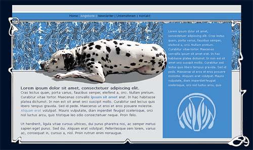 Website-Entwurf mit Dalmatiner und Ornamenten