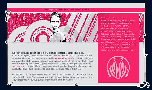 Website-Entwurf im Retro-Stil oder auch Late-Sixties-Maniriesmus in Pink und Grau