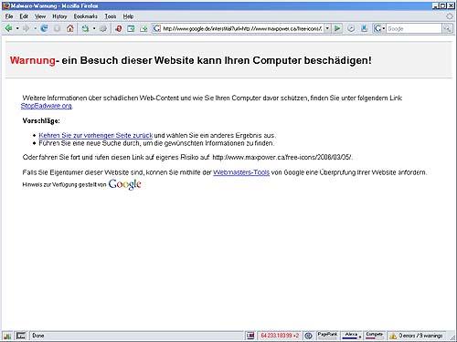 Screenshot Zwischenseite mit Warnhinweis vor der Websites die man ansteuert.