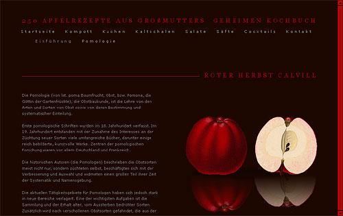 Website-Entwurf mit einem roten Herbst Calvill