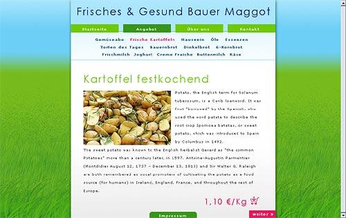 Website-Entwurf für einen Agrarwirt mit saftig grüner hoher Wiese