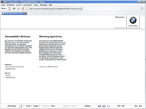BMW informiert Opera-User, ihr Browser sei inkompatibel.