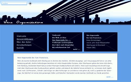 Website-Entwurf mit Großstadt-Silhouette