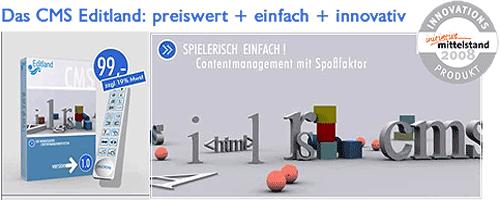 Das CMS Editland ist ein Innovationsprodukt 2008 laut der Initiative Mittelstand